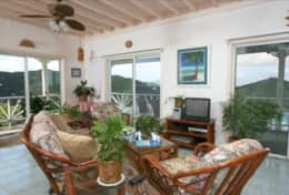 Living room with 180 degree views of Coral Bay