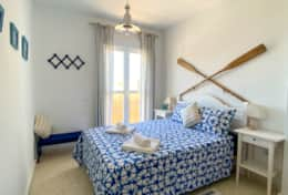 Double bed & private balcony with sea view
