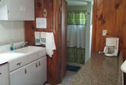 Kitchen into bathroom