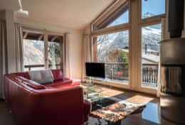 Chalet Daphne Chic Chalet Saas Fee Living Room with View