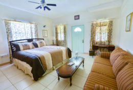 The master bedroom has a king size bed, queen sofa bed, and its own walk out veranda.
