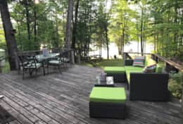 Great lounge area over looking Six Mile Lake!