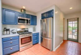 The Kitchen has all new stainless appliances including a drip coffee maker, kettle and French press