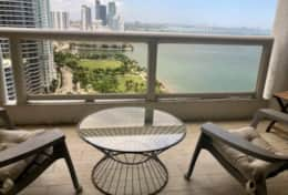Furnished balcony with views of Biscayne Bay and Park