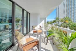 Fully furnished balcony, views of Biscayne Bay and downtown Miami