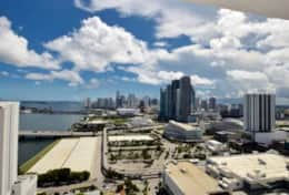 Views from fully furnished balcony of downtown Miami and Biscayne Bay