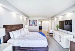 Master bedroom suite, king bed, desk, Tv, balcony access, private bathroom