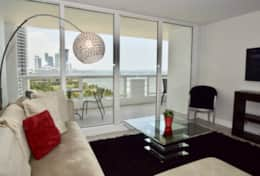 Living room, Roku streaming tv, balcony access, amazing views of Biscayne Bay