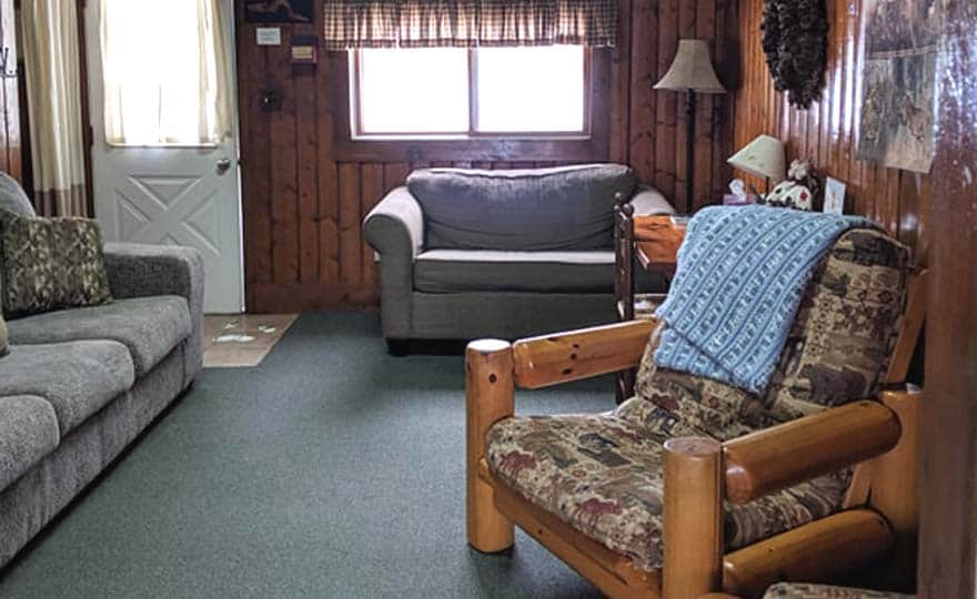 Up North Cottage living room from kitchen