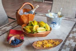 Fresh tropical fruit from the lush gardens surrounding the property