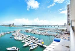 Balcony with views of Biscayne Bay and Sea Isles Marina