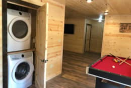 Basement washer and dryer and pooltable