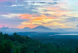 Sunset view behind the 5 volcanoes on Java