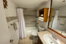 Downstairs bathroom with tub/shower combo.  Bath towels provided.