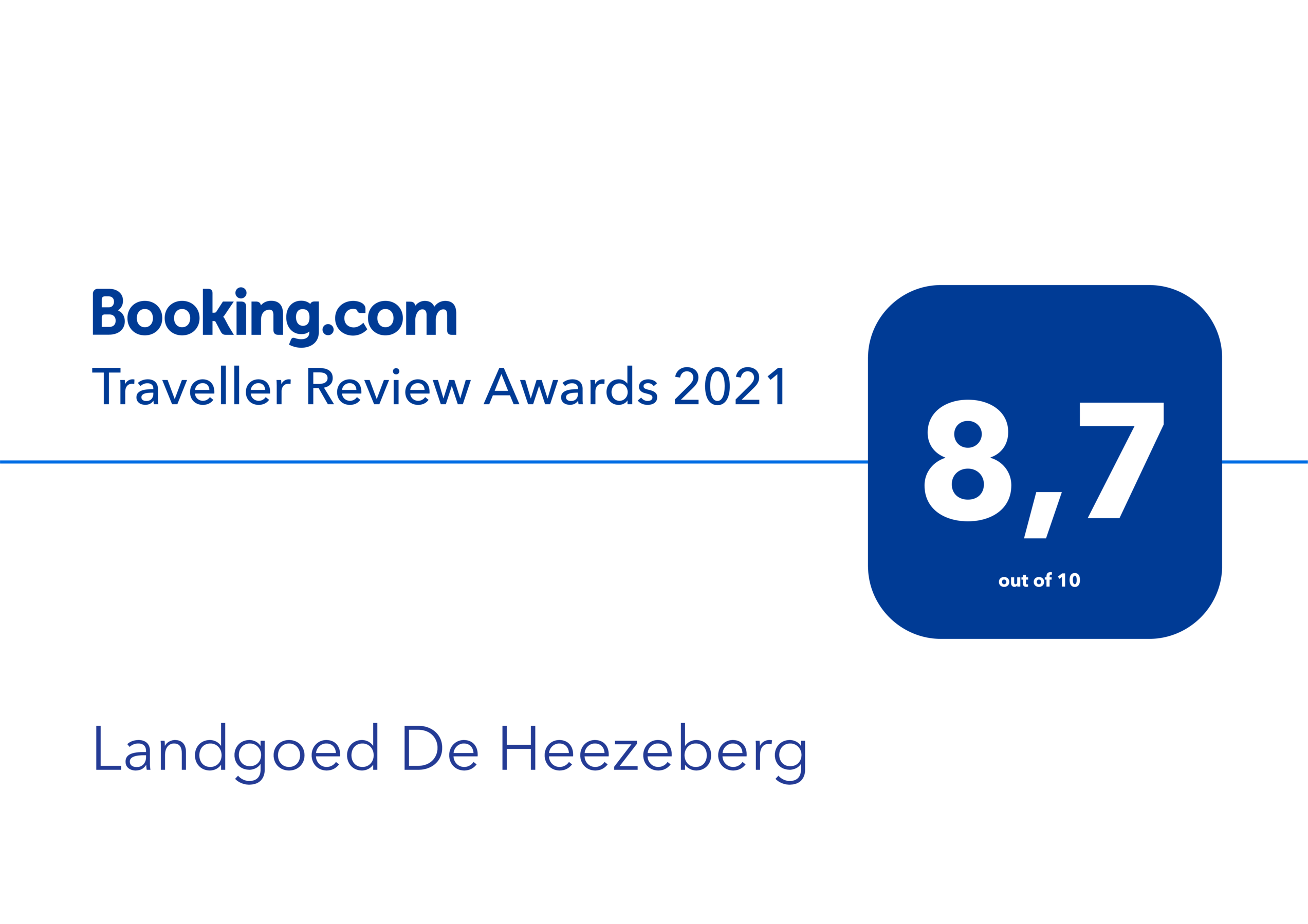 Booking.com Traveller Review Awards 2021 - 8,7