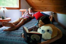 Kids chilling out in Cabin 2