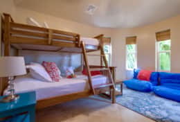 Upstairs bunk room twin bed over double bed