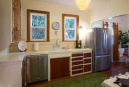 Kitchen with new fridge and dishwasher